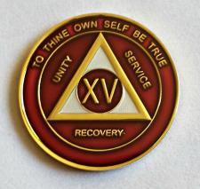 AA Gold Burgundy and Pearl Recovery Medallion