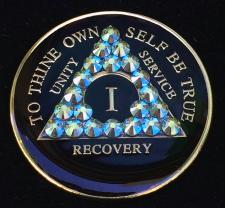 Black & Aqua Bling Tri-Plate Medallion