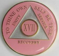 Pink and Satin Silver White AA Recovery Medallion