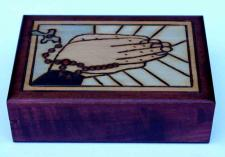 Praying Hands and Beads Wooden God Box