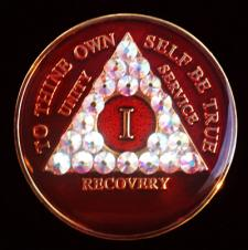 Red Bling Tri-Plate Medallion