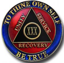 Red Blue Black Recovery Medallion