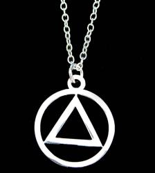 AA Symbol High Polished Silver Necklace