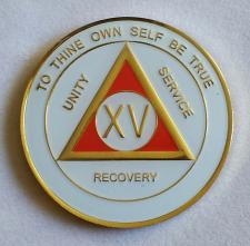 AA Gold White and Red Recovery Medallion