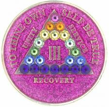 AA Glitter Pink Medallion w rainbow Triangle