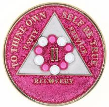 Swarovski Bling w Pk/Wh Crystal Circle on Glitter Pink Medallion