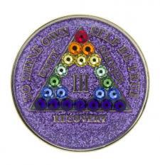 AA Glitter Lavender Medallion w rainbow Triangle Swarovski Bling
