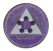 Swarovski Bling w Pr/Wh Crystal Circle on Glitter Lavender