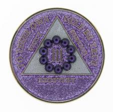 Swarovski Bling w Purple Crystal Circle on Glitter Lavender
