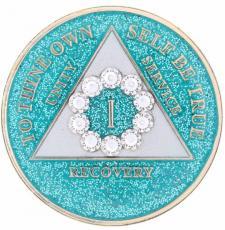 Swarovski Bling w White Crystal Circle on Glitter Turquoise