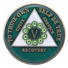 AA Green Medallion w Green Circle Swarovski Bling