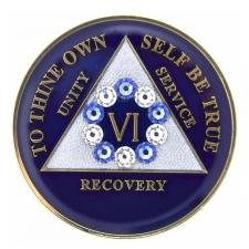 AA Blue Medallion W Blue/White Circle Swarovski Bling