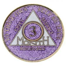AA Months Medallion Glitter Lavender (choose month)