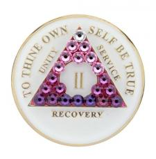 AA Glow in Dark Medallion w Transition Pink Crystals