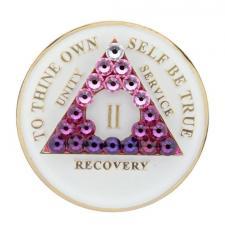 AA Glow in Dark Medallion w Transition Pink Crystals