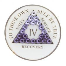 AA Glow in Dark Medallion w Transition Purple Crystals