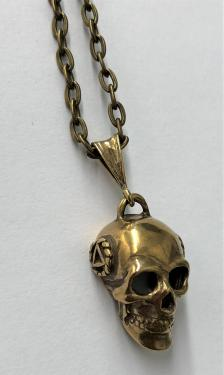 Brass, 3d Skull with AA Symbol in a Small Twist Wire Circle on a 18