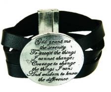 Silver Serenity Prayer Leather Bracelet