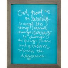 Blue Frame Chalk Board Serenity Prayer