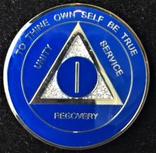 AA Blue Glitter Recovery Medallion