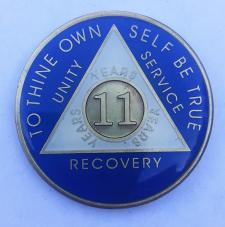 AA Blue White Tri-Plate Recovery Medallion