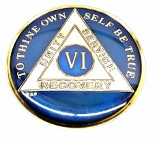 AA BLUE Tri-Plate Enamel Recovery Medallion