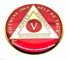 AA RED Tri-Plate Enamel Recovery Medallion