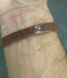 Leather Courage Bracelet Thin Brown