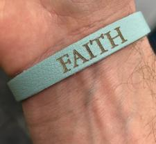 Leather Faith Bracelet Thin Powder Blue
