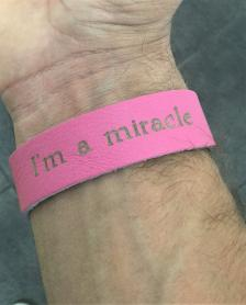 Leather I'm a Miracle Bracelet Hot Pink w/ Beads