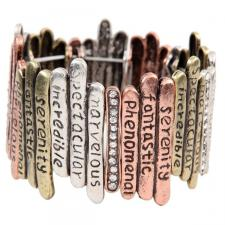 Multi Metal Sticks Inspirational Words Bracelet