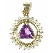 14k Gold, AA Symbol Pendant, Circle of 22 diamonds with Genuine Amethyst Triangle
