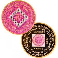 NA Swarovski Bling Glitter Pink Coin