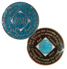 NA Medallion Glitter Turquoise Coin