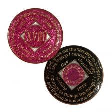 NA Medallion Glitter Pink NA Coin