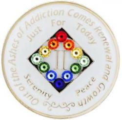 NA GLOW in the DARK Medallion w LGBT Swarovski Crystal Bling