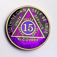 AA Purple Fire Tri-Plate Recovery Medallion