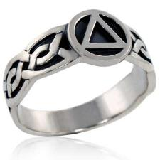Sterling Silver Antiqued Celtic AA Unity Ring