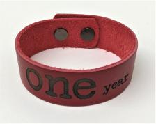 Leather ONE year Deep Red Leather Bracelet