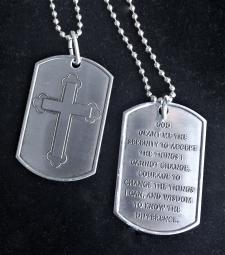 Antique Nicodium Dog Tag - Cross w/ Serenity Prayer