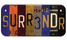 Surrender Wooden License Plate