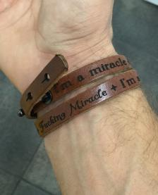 Adjustable I'm A Miracle, F***ing Miracle Leather Wrap TAN