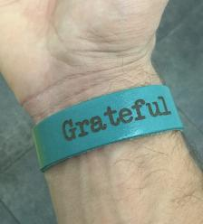 Leather Grateful Bracelet Teal w/ Beads