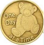 Teddy Bear - One Day At A Time Bronze Medallion