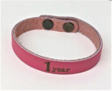 Leather Pink 1year Bracelet
