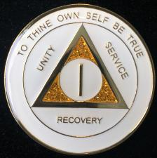 AA White Glitter Recovery Medallion